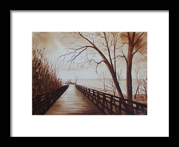 Sepia Watercolour Of Bridge At Waterfront Framed Print featuring the painting Rotary Bridge by Sharon Steinhaus