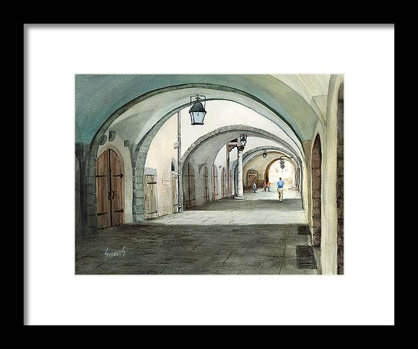 Germany Framed Print featuring the painting Rothenburg Backstreet by Sam Sidders