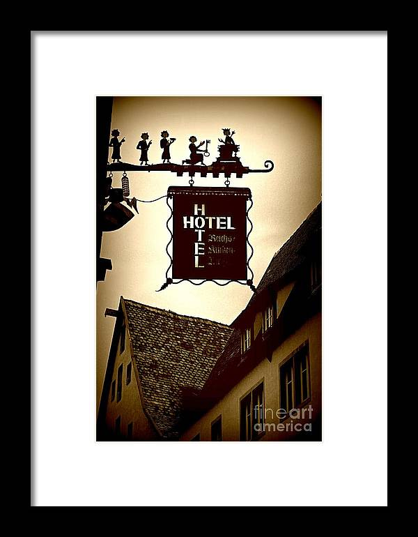 Hotel Sign Framed Print featuring the photograph Rothenburg Hotel Sign - Digital by Carol Groenen