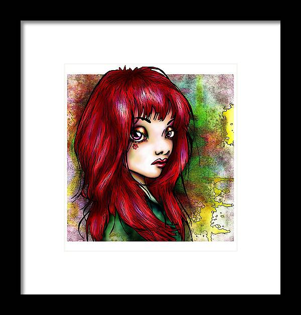 Woman Framed Print featuring the drawing Rotschopf by Mirja Timm