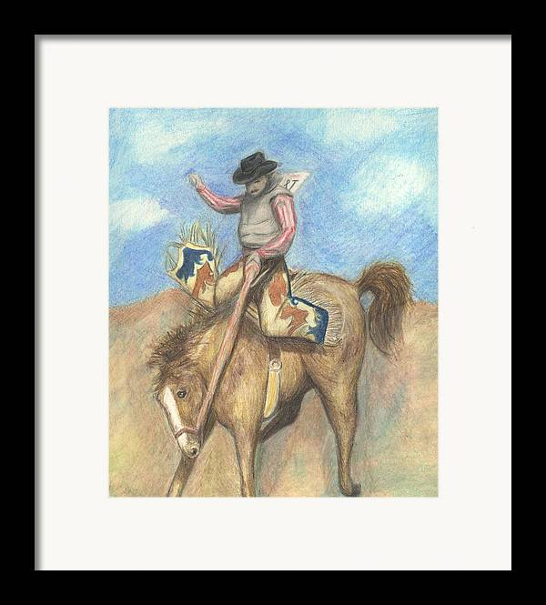 Rodeo Framed Print featuring the drawing Rough Rider by Jennifer Skalecke
