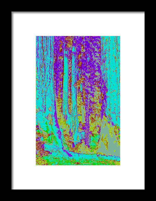 Framed Print featuring the digital art Rough Trees D4 by Modified Image