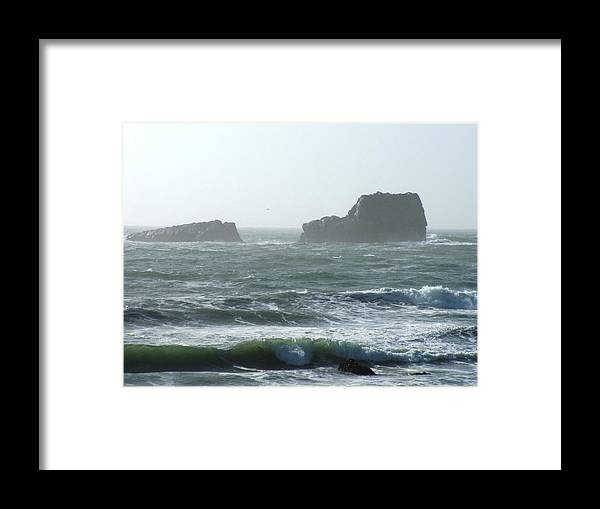 Oceanes Framed Print featuring the photograph Rough Waters by Shari Chavira
