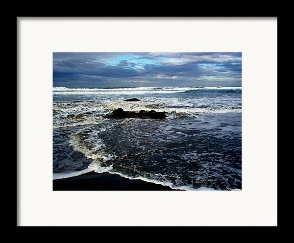 Ocean Framed Print featuring the photograph Rough Waters by Trisha Allard