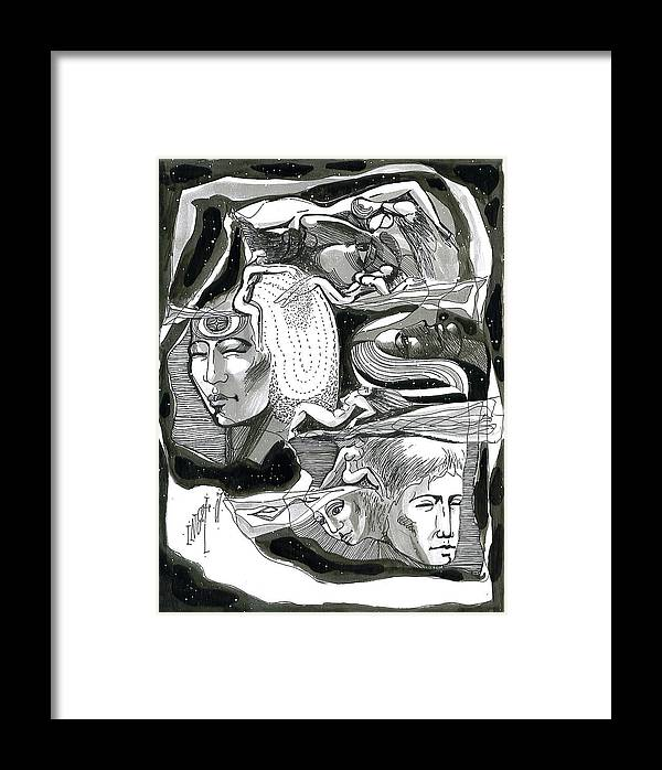 Figurative Framed Print featuring the drawing Round About by Inga Vereshchagina