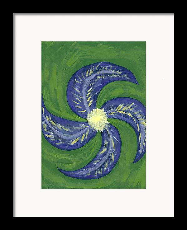 Flower Framed Print featuring the painting Round And Round by Laura Lillo