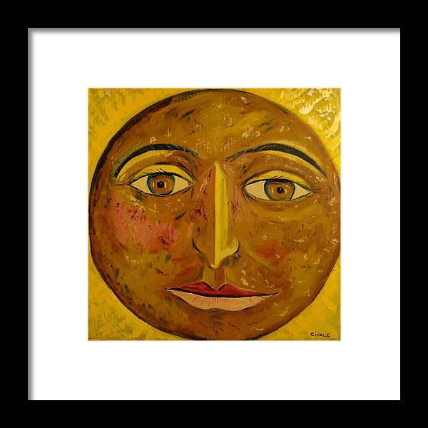 Face Framed Print featuring the painting Round face by Biagio Civale