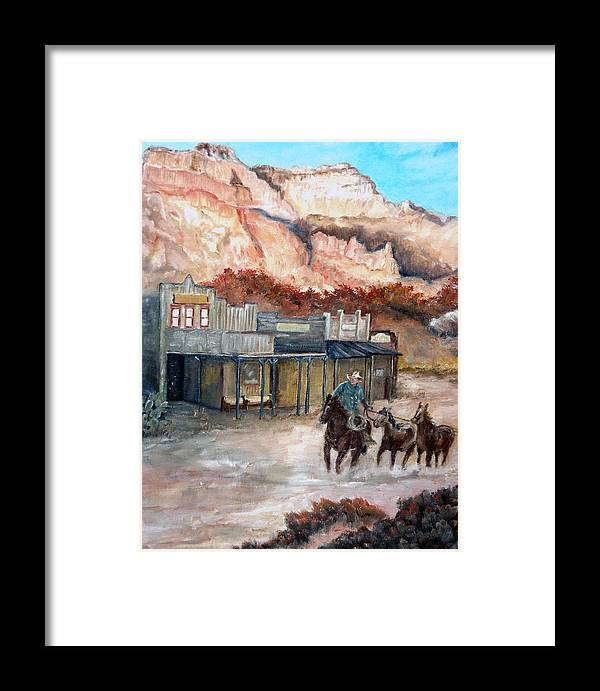 West Framed Print featuring the painting Round-up by CJ Rider