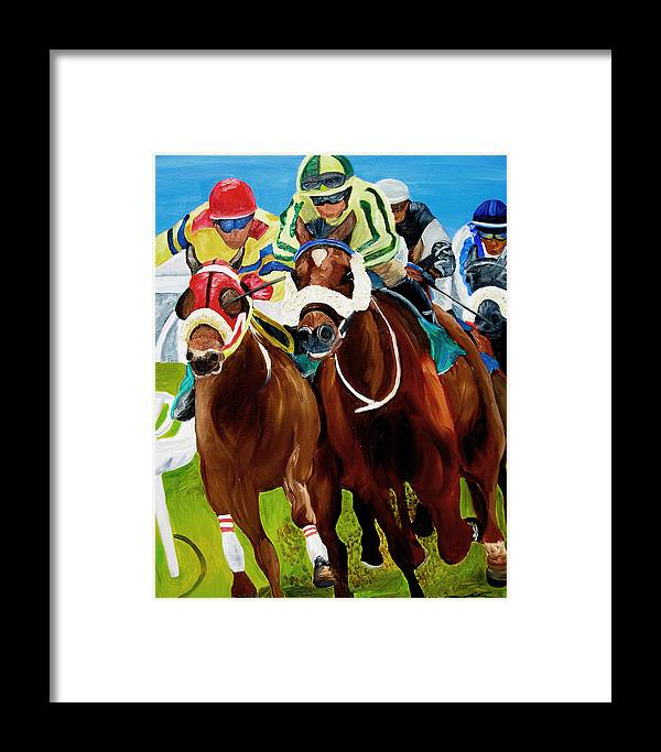 Horse Racing Framed Print featuring the painting Rounding The Bend by Michael Lee