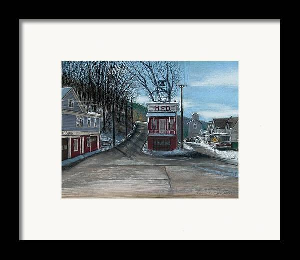 Firehouse Framed Print featuring the painting Route 6 Meshoppen Pa by John Clum
