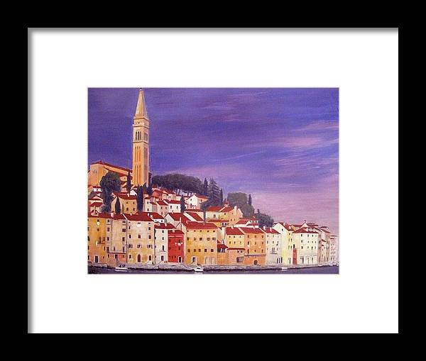 Rovigno Framed Print featuring the painting Rovinj by Anthony Meton