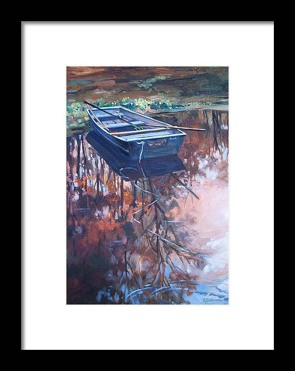 Water Framed Print featuring the painting Rowboat Ashore by Dianna Willman