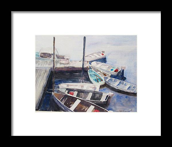 Boats Framed Print featuring the painting Rowboats by M Jan Wurst