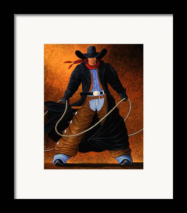 Cowgirl Framed Print featuring the painting Rowdy by Lance Headlee