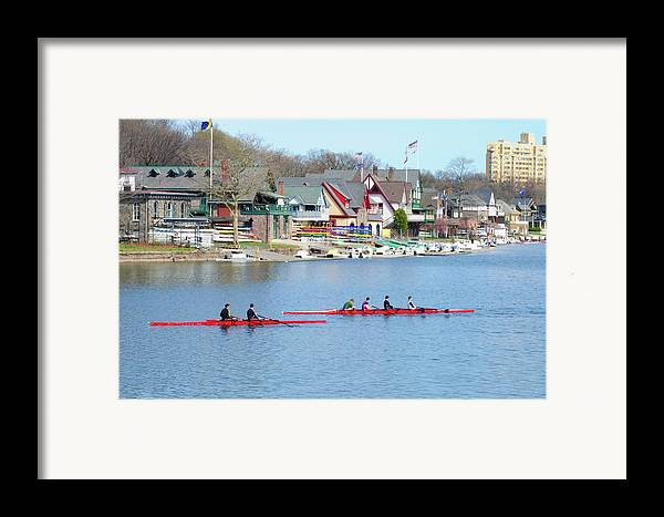 Rowers Framed Print featuring the photograph Rowing Along The Schuylkill River by Bill Cannon