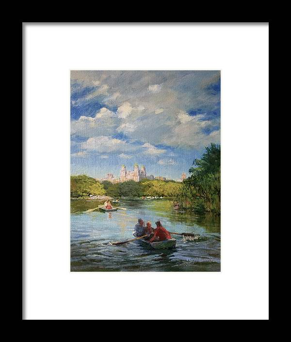 Urban Landscape Paintings Framed Print featuring the painting Rowing On The Lake, Central Park by Peter Salwen
