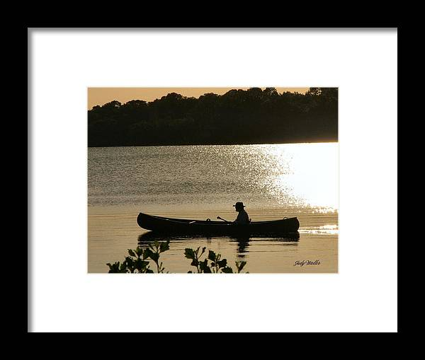 Water Framed Print featuring the photograph Rowing On The Lake by Judy Waller