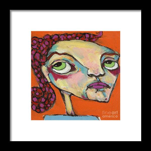 Circle Head Art Framed Print featuring the painting Roxie Box by Michelle Spiziri