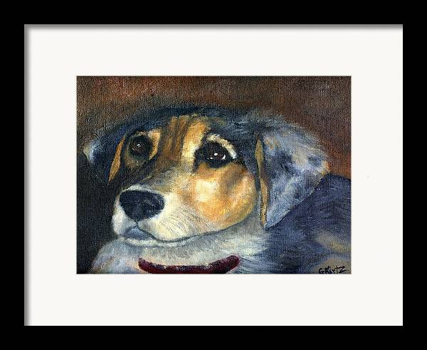 Dog Framed Print featuring the painting Roxie by Gail Kirtz