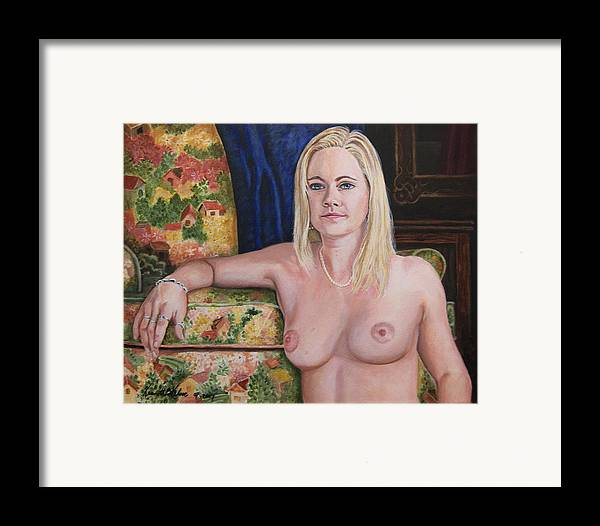 Portrait Framed Print featuring the painting Roxy by Kenneth Kelsoe