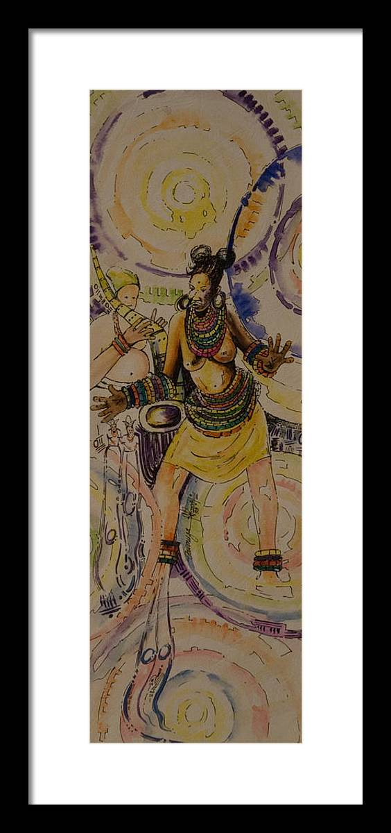Framed Print featuring the painting Royal Entry by Alfred Awonuga