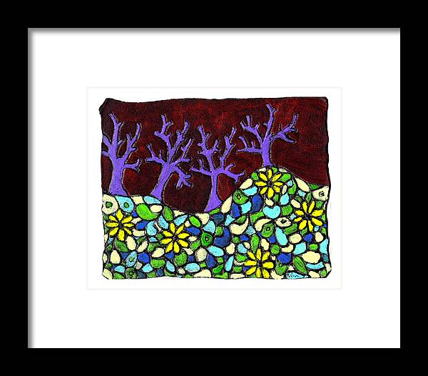 Trees Framed Print featuring the painting Royal Forest by Wayne Potrafka