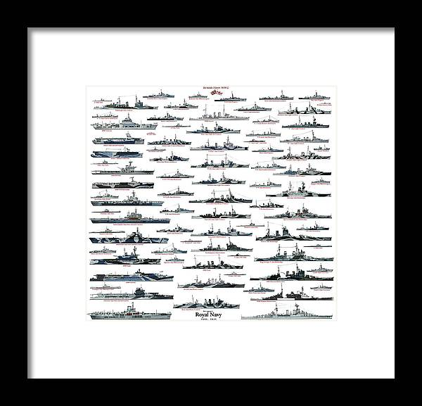 Royal Navy Framed Print featuring the drawing Royal Navy ww2 by The collectioner