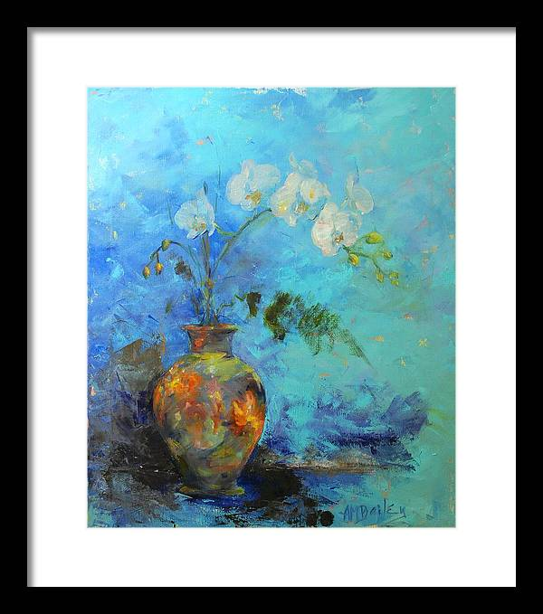 Orchids Framed Print featuring the painting Royal Orange by Ann Bailey