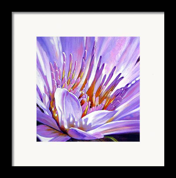 Water Lily Framed Print featuring the painting Royal Purple And Gold by John Lautermilch