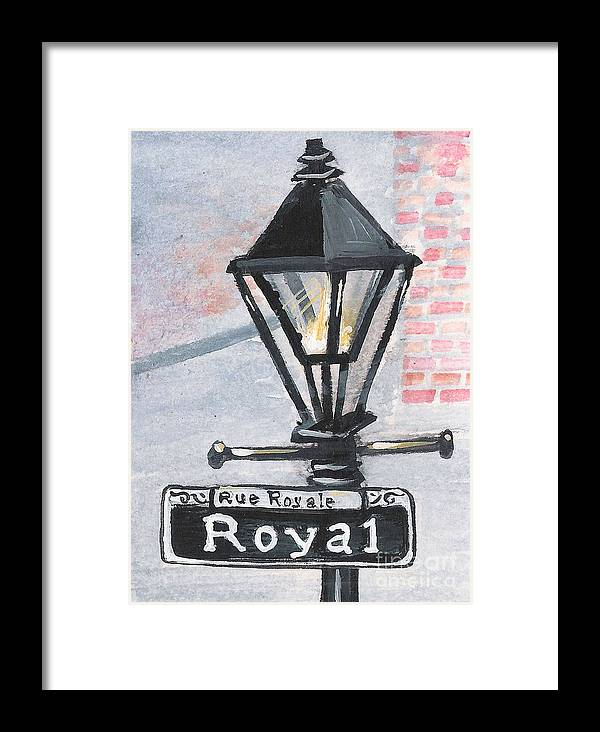 New Orleans Framed Print featuring the painting Royal Street Lampost by Elaine Hodges