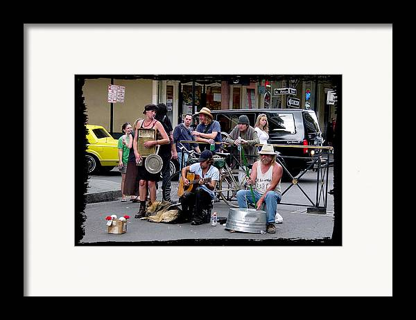 New Orleans Framed Print featuring the photograph Royal Street Musicians by Linda Kish