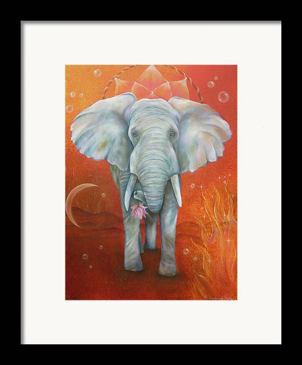 White Elephant Framed Print featuring the painting Royal White Elephant by Sundara Fawn