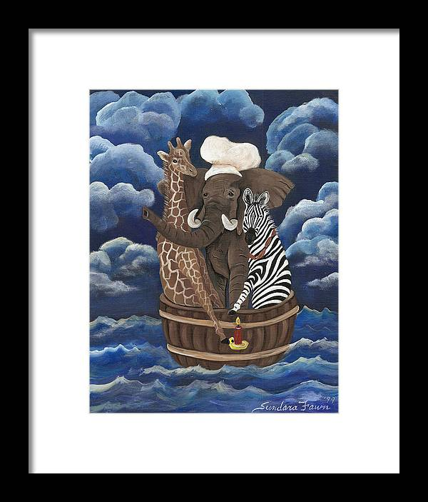 Zebra Framed Print featuring the painting Rub A Dub Dub by Sundara Fawn