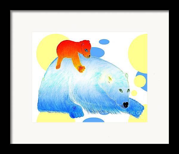 Bears Framed Print featuring the painting Ruby And Apple by Tess M J Iroldi