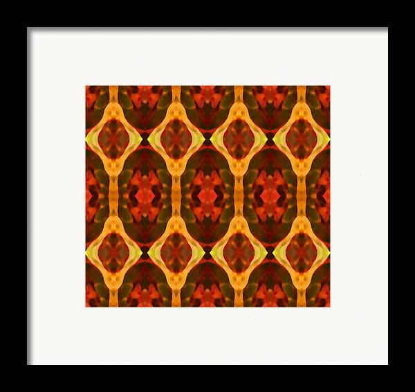 Abstract Framed Print featuring the painting Ruby Glow Pattern by Amy Vangsgard