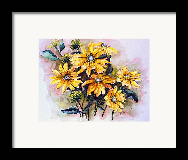 Flower Painting Sun Flower Painting Flower Botanical Painting  Original Watercolor Painting Rudebeckia Painting Floral Painting Yellow Painting Greeting Card Painting Framed Print featuring the painting Rudbeckia Prairie Sun by Karin Dawn Kelshall- Best