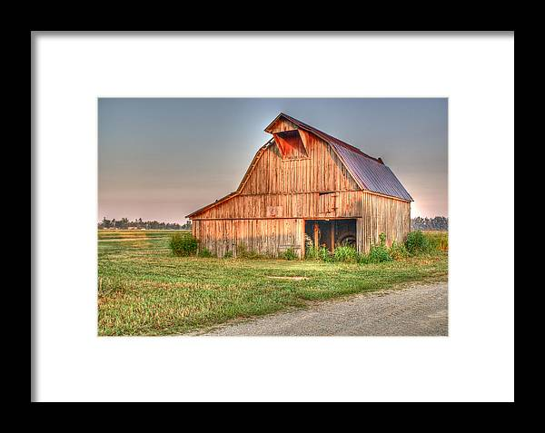 Barn Framed Print featuring the photograph Ruddish Barn At Dawn by Douglas Barnett