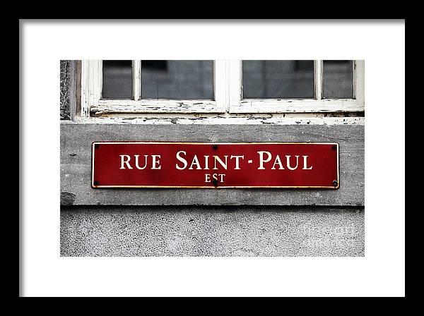 Rue Saint-paul Framed Print featuring the photograph Rue Saint-paul by John Rizzuto