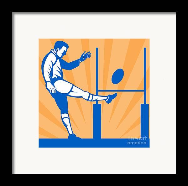 Illustration Framed Print featuring the digital art Rugby Goal Kick by Aloysius Patrimonio