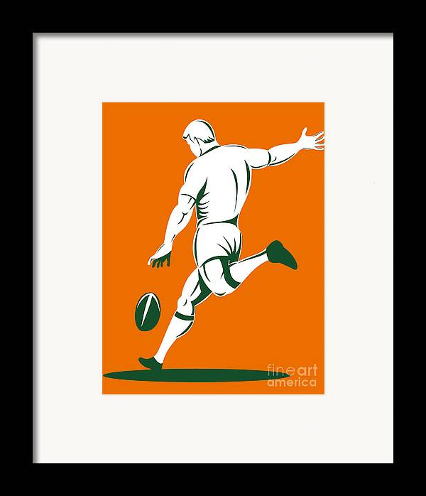 Illustration Framed Print featuring the digital art Rugby Player Kicking by Aloysius Patrimonio