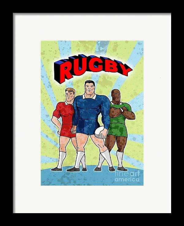 Rugby Framed Print featuring the digital art Rugby Player Standing With Ball by Aloysius Patrimonio