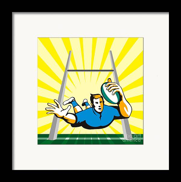 Rugby Framed Print featuring the digital art Rugby Player Try by Aloysius Patrimonio