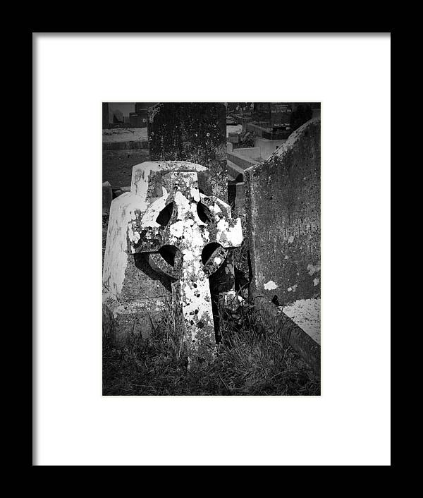 Celtic Framed Print featuring the photograph Rugged Cross At Fuerty Cemetery Roscommon Ireland by Teresa Mucha