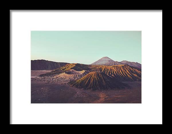 Adventure Framed Print featuring the photograph Rugged Mountainous Terrain Mount Bromo At Sunrise by Srdjan Kirtic