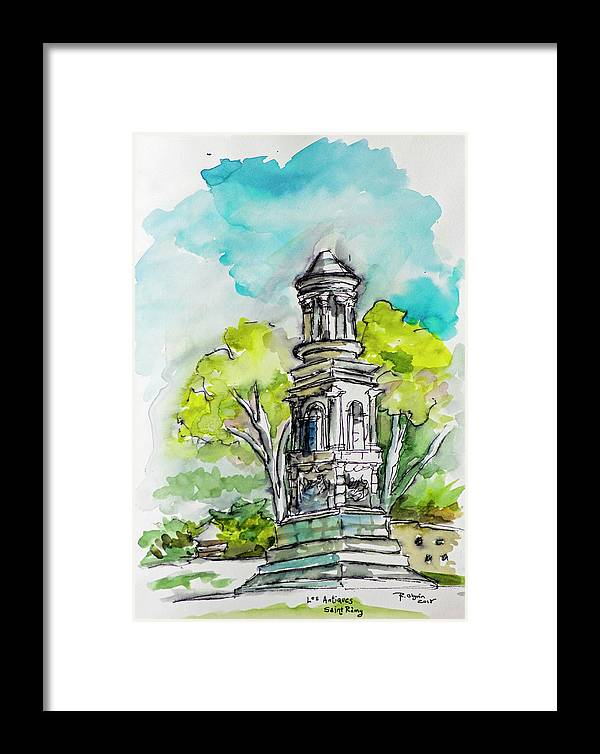 Urban Sketching Framed Print featuring the drawing Ruins In St. Remy by Rocio Olguin