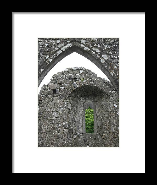 Ireland Framed Print featuring the photograph Ruins Of A 9th Century Monastery In Ireland by Beverlee Singer