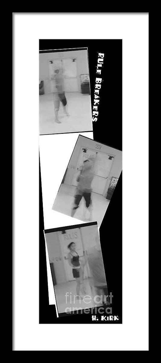 Photo Photography Black And White Digital Graphic Photoshop Rehearse Rehearsal Practice Dance Jazz Ballet Modern Music Stretch Hold Tuck Bend Roll Arch Ball Head Neck Arm Body Leg Foot Feet Knee Room Chair Sofa Couch Floor Sit Seat Wall Door Rules Exit Inverse Negative Dark Tilt Turn Twist Move Drip Break Framed Print featuring the photograph Rule Breakers by Heather Kirk