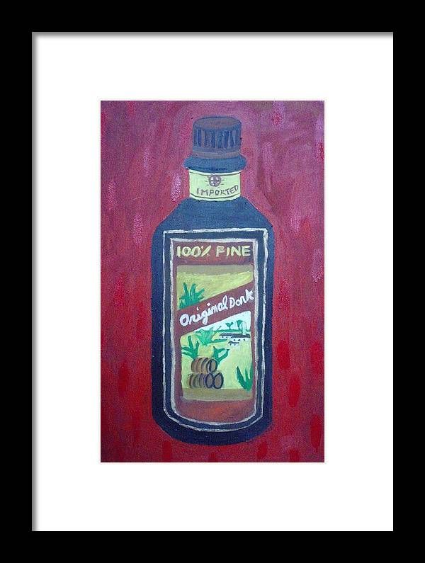 Oil On Canvas Framed Print featuring the painting Rum by Patrice Tullai