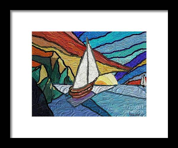 Seascape Framed Print featuring the painting Rumbs by Xavier Ferrer