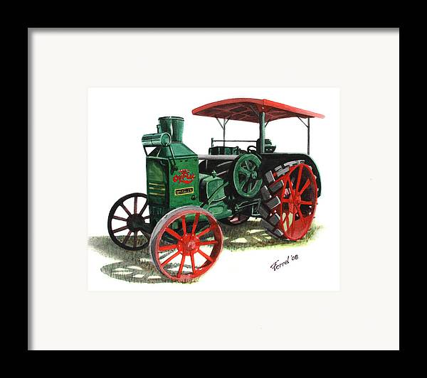 Oil Pull Framed Print featuring the painting Rumely Oil Pull X Tractor by Ferrel Cordle